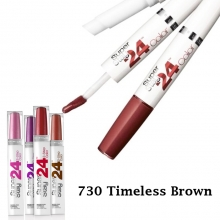 Ruj Maybelline New York rezistenta extrema - 24h Superstay Dual Ended Lipstick + Conditioning balm No.730 - Timeless Brown