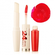 Ruj Maybelline New York rezistenta extrema - 24h Superstay Dual Ended Lipstick + Conditioning balm No.480 - Tangerine Pop